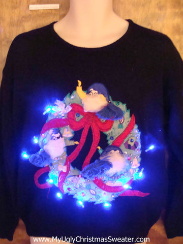 Wreath with Ghosts Light Up Ugly Xmas Sweater