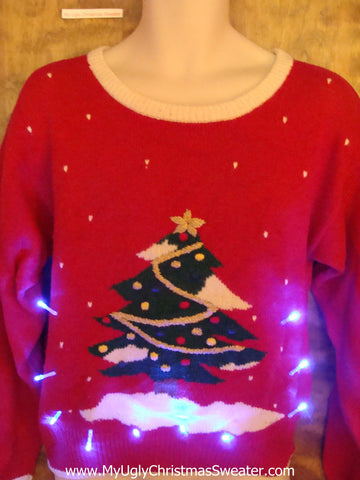 Festive Red Light Up Ugly Xmas Sweater with Tree