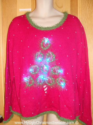 Pink and Green Christmas Sweater with Lights (g226)