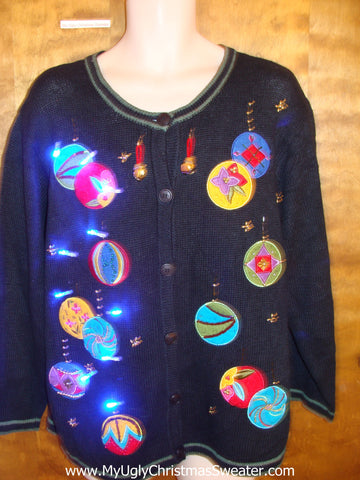 Tacky Dangling Ornaments Light Up Ugly Xmas Sweater