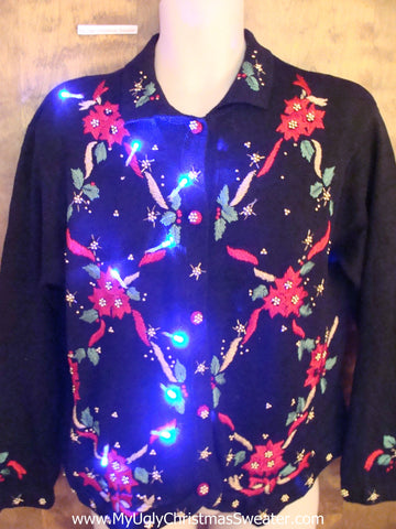 Poinsettia Grid Light Up Ugly Xmas Sweater