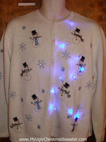 Sweet Cute Happy Snowmen Light Up Ugly Xmas Sweater