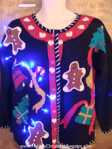 Best 80s Gingerbread Themed Light Up Ugly Xmas Sweater