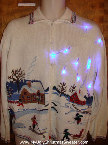 Winter Wonderland Scene Light Up Ugly Xmas Sweater