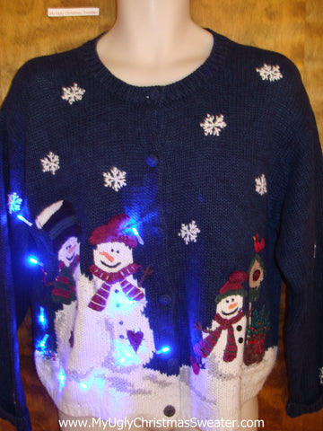 Snowman Gathering Light Up Ugly Xmas Sweater