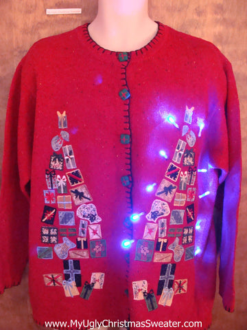 Horrible Collage Trees Light Up Ugly Xmas Sweater