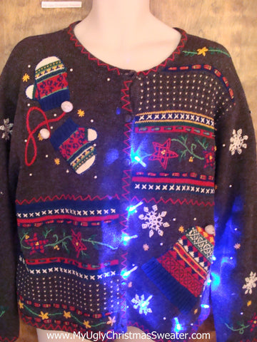 Mittens and Snow Light Up Ugly Xmas Sweater