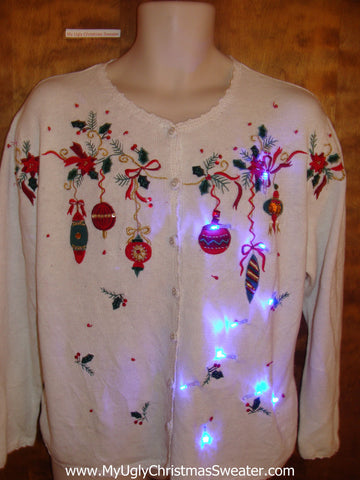 Cute Light Up Ugly Xmas Sweater with Ornaments
