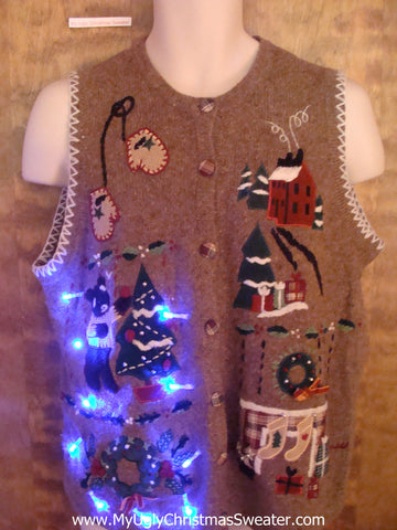 Bear Decorating a Tree Light Up Ugly Xmas Sweater Vest