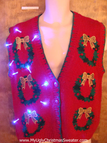 Wreath 6pack Light Up Ugly Xmas Sweater Vest
