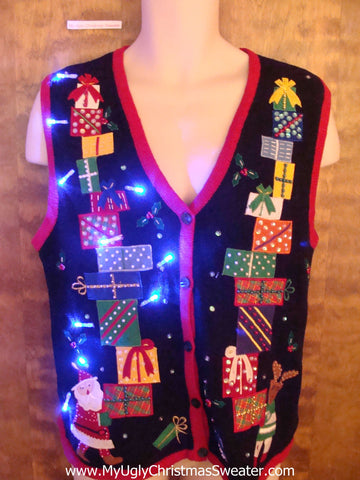 Santa and Reindeer with Gifts Light Up Ugly Xmas Sweater Vest