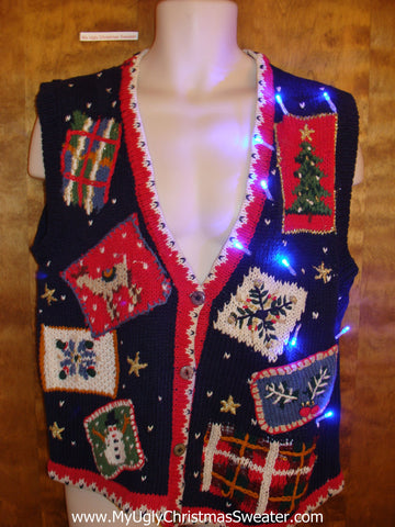 Patchwork Mess Light Up Ugly Xmas Sweater Vest