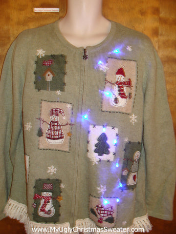 Light Up Green Ugly Xmas Sweater with Fringe