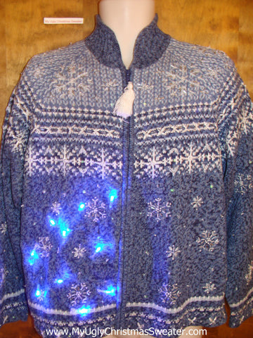 Blue Nordic Snowflakes Light Up Ugly Xmas Sweater