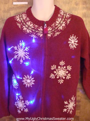 Red Nordic Snowflakes Light Up Ugly Xmas Sweater