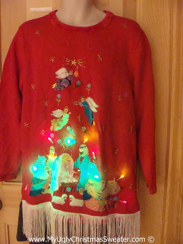 Religous Nativity Jesus and Mary Christmas Sweater with Lights (g228)