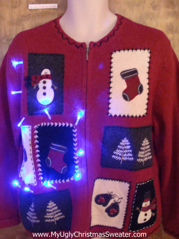 Crafty Patchwork Snowman Light Up Ugly Xmas Sweater