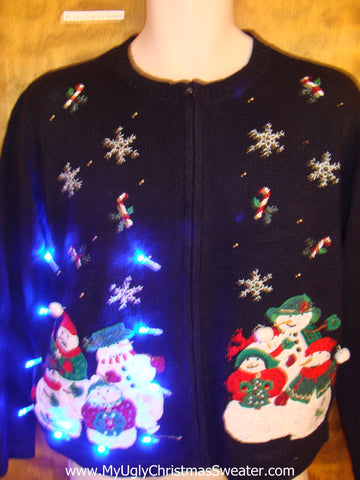 Snowman Block Party Light Up Ugly Xmas Sweater