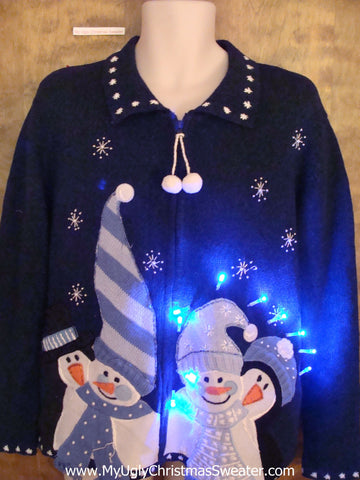 Cute Blue Light Up Ugly Xmas Sweater with Snowmen