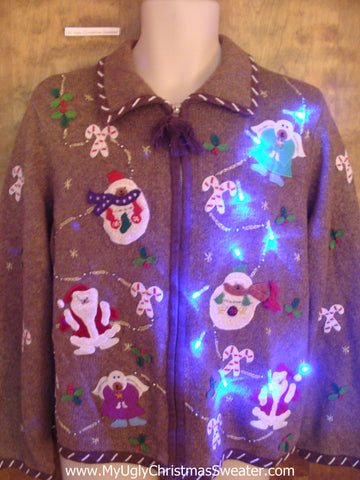 Brown Horrible Light Up Ugly Xmas Sweater