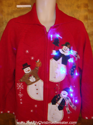 Light Up Red Ugly Xmas Sweater with Peeking Snowmen