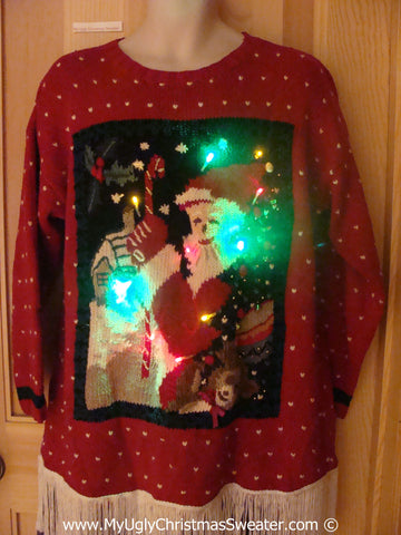 Red Santa Christmas Sweater with Lights and Fringe (g229)