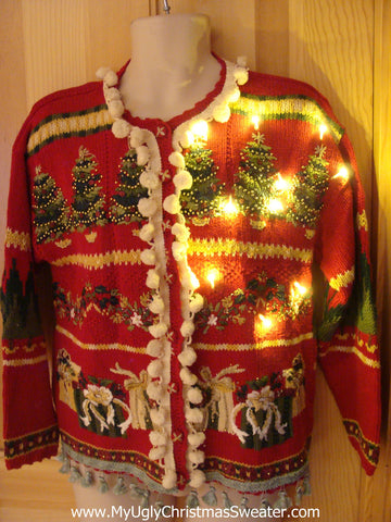 Tacky Ugly Christmas Sweater with Lights and Fringe 2-Sided Design 80s with Padded Shoulders (g22)