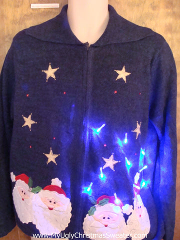 Starry Night Santas Light Up Ugly Xmas Sweater