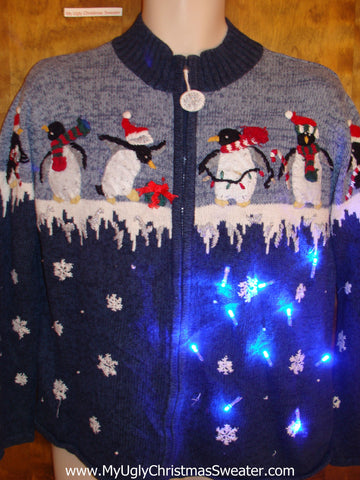 Penguin Decorating Party Light Up Ugly Xmas Sweater