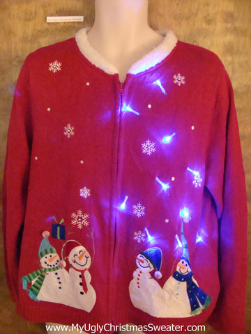 Four Snazzy Snowmen Light Up Ugly Xmas Sweater
