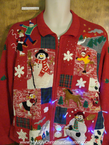Crazy Patchwork Red Light Up Ugly Xmas Sweater