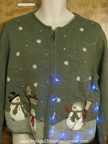 Snowman Trio Green Light Up Ugly Xmas Sweater