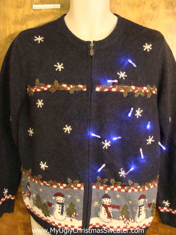 Snowflakes and a Wreath Light Up Ugly Xmas Sweater