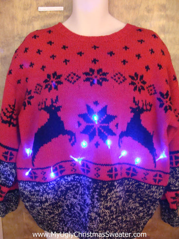 Red Classic Leaping Reindeer Light Up Ugly Xmas Sweater