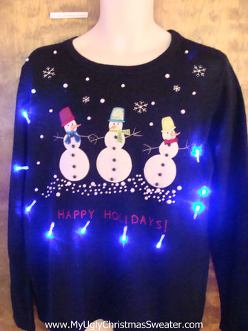 Snowman Triplets Light Up Ugly Xmas Sweater
