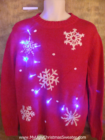 Classic Snowflakes Light Up Ugly Xmas Sweater