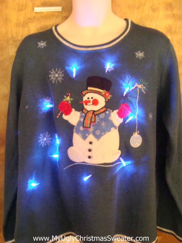 Red Cheeked Snowman Light Up Ugly Xmas Sweater