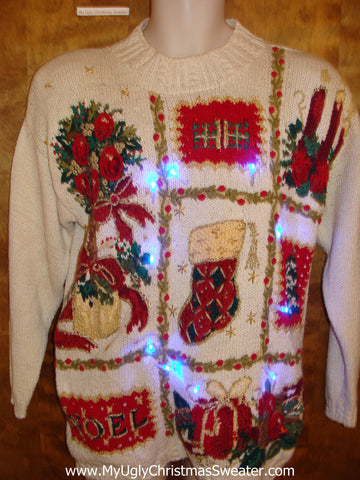 Grid of 80s Style Decorations Light Up Ugly Xmas Sweater