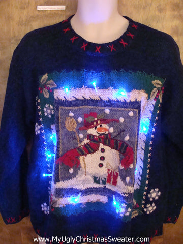 Snow Scene Snowman Framed Light Up Ugly Xmas Sweater