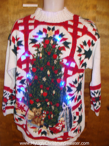 Bold Color Crazy 80s Light Up Ugly Xmas Sweater