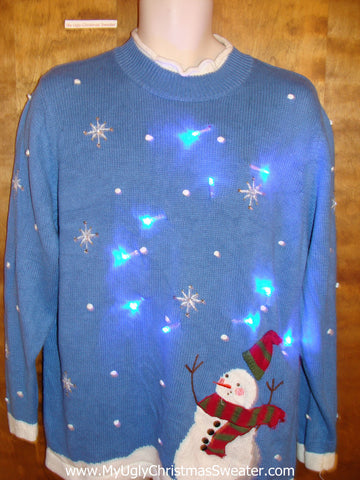 Windy Day SnowmanLight Up Ugly Xmas Sweater