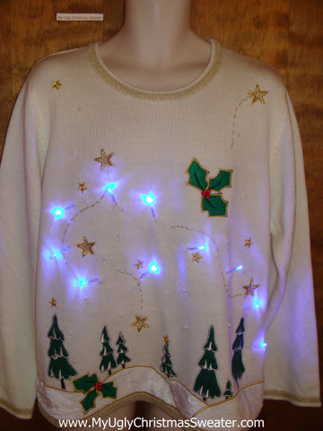 Forest in the Winter Stars Light Up Ugly Xmas Sweater