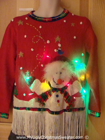Holy Grail Christmas Sweater with Lights 2sided Snowman (g231)