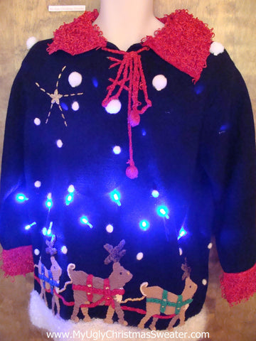 BEST 80s Amazing 2sided Santa and Reindeer Light Up Ugly Xmas Sweater