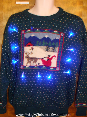 Sleigh and Reindeer Snowy Light Up Ugly Xmas Sweater