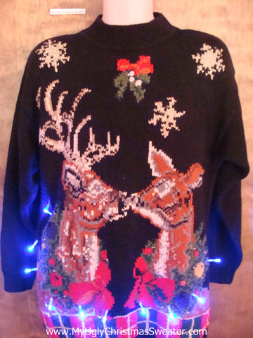 BEST Reindeer in Love 80s Light Up Ugly Xmas Sweater