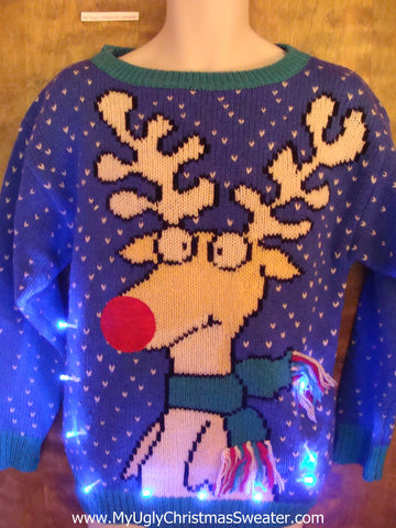 BEST 80s Funny Rudolph Reindeer Light Up Ugly Xmas Sweater