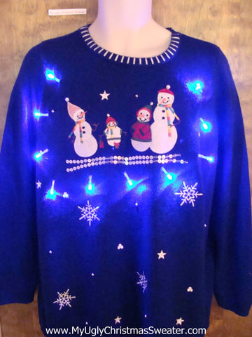 Cute Blue Light Up Ugly Xmas Sweater  Snowman Family