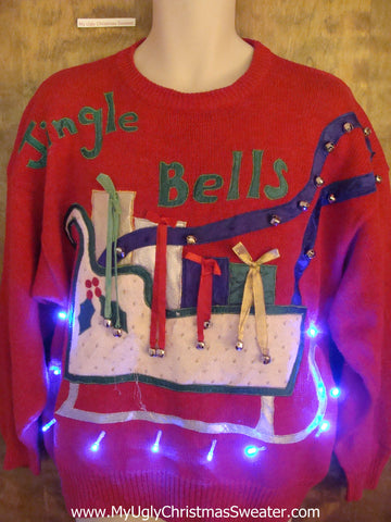 JINGLE BELLS 80s Red Light Up Ugly Xmas Sweater