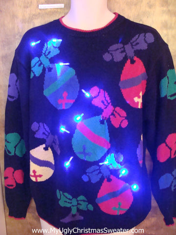 Giant Ornaments 80s Light Up Ugly Xmas Sweater
